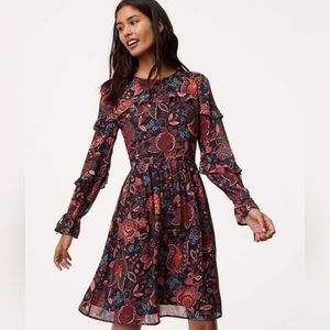 NWOT LOFT Floral Ruffle Tie Sleeve Dress